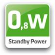 Standby verbruik van 0,8W/uur