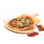 Pizzasteen, houten spatel en snijder